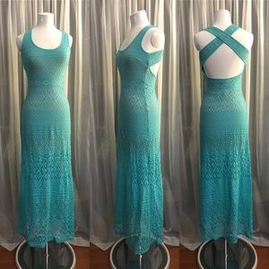 Bebe Crochet-like Cross Back Maxi Dress NWOT